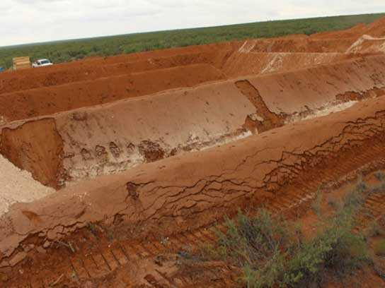 Large dirt pit with large trenches.